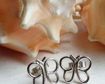 Sterling Silver Butterfly Post Stud Earrings
