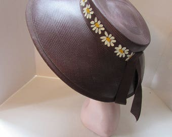 Vintage Straw Hat Chocolate Brown Hat Wide Brim Hat Painted Daisies Ribbon Summer Hat Spring Hat Garden Party Hat Vintage Hats Pierce NY