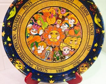Vintage 1960's Astrology Serving Tray Zodiac Signs Metal Tray Horoscope Serving Tray Astrological Sign Tray