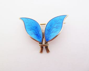 David Andersen and Willy Winnaess Vintage Norway Sterling Silver and Bright Blue Enamel Double Leaf Brooch