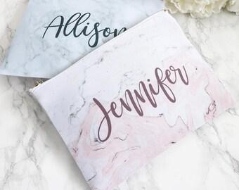Monogram White Cosmetic Bag - Personalized Pink Gray Marble Print Makeup Bag, Custom Cosmetic Bag, Personalized toiletry bag, pencil bag