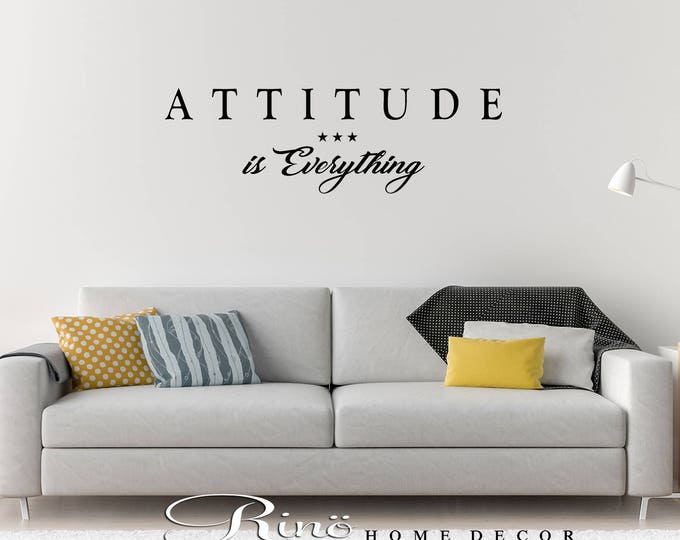 Attitude is everything wall decal wall quote vinyl lettering sticker home decor office wall saying