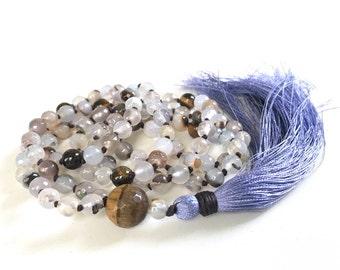 Creamy Agate Mala Beads, Tiger Eye Mala Necklace, Hand Knotted Mala, 108 Bead Mala With Silk Tassel, Yoga Necklace, Gemstone Mala