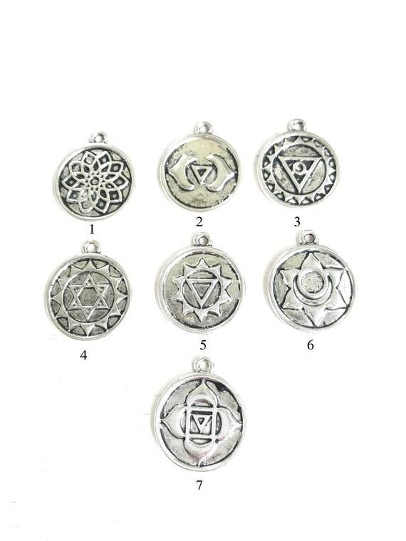 Chakra Charms For Mala Beads, Root Chakra, Sacral Chakra, Solar Plexus, Heart Charkra, Throat Chakra, Third Eye Chakra, Crown Chakra, Yoga