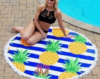 Pineapple Stripe Round Beach Towel