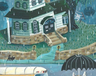 Early morning bus ride. A limited edition giclee print of an original illustration.