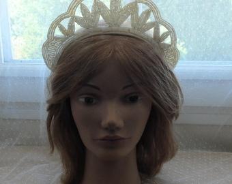 1910 - 1920 beaded wedding tiara, head dress, wedding head piece, head band, beaded head band