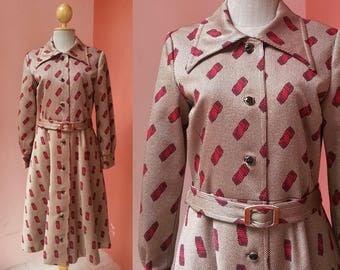 Brown Dress 80s Dress Coat Dress Vintage Dress 1980s Dress Women Winter Dress Abstract Print Midi Dress With Belt Long Sleeve Medium Size 8