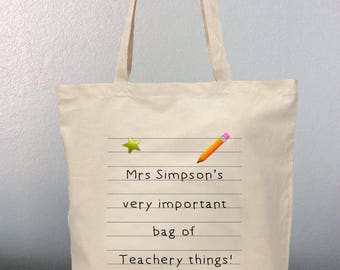 Thank You Teacher Tote Bag Personalised Present Gift Teacher's Very Important Bag Of Teachery Things