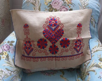 Vintage Hungarian folk embroidered cushion cover