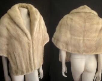 Lovely Blonde Beige Cream MINK Fur STOLE Cape Wrap Shawl Capelet Coat Jacket ~ Winter Wedding ~ Luxury Bridal ~ Tourmaline White