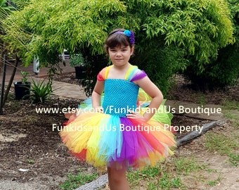 Rainbow  Tutu Dress Party-   Newborn, dress-up girl- Rainbow Tutu Dress -  Rainbow First Birthday - Pony Rainbow Dress