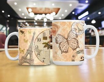 Paris Eiffel Tower Mug, Retro Paris France Cup, Parisian Theme Decoration, College Dorm Decor, Vintage Retro Paris Party Decoration Mug