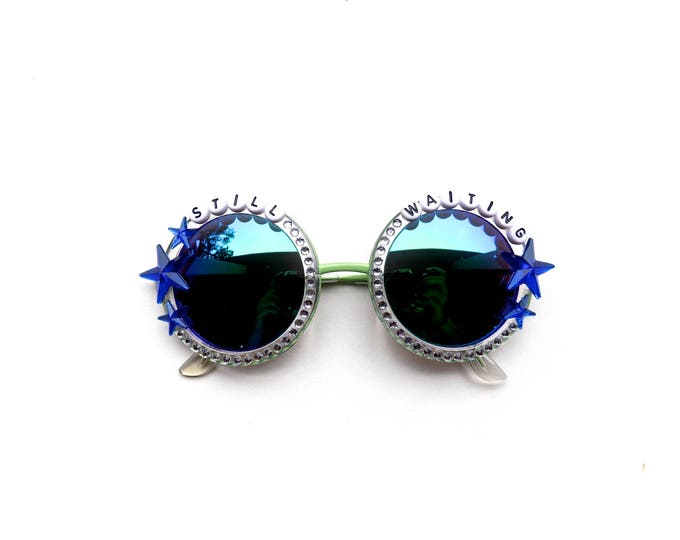 """Talking Heads """"Still Waiting"""" Crosseyed and Painless Decorated Sunglasses, funky round embellished shades with Phish/Talking Heads lyrics"""