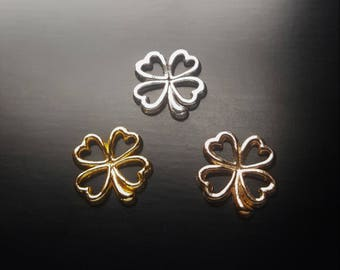 Four Leaf Clover  Floating Charm for Floating Lockets-Silver, Gold or Rose Gold Charm-St. Patty's Day Jewelry