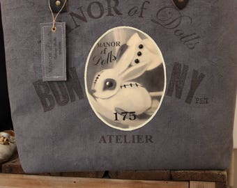 "Large tote Manor ofDolls ""175 Pet Bunny"" blue"