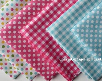 SALE Aqua & Hot Pink Retro Fat Quarter Bundle of 6 Gingham and Small Dots Riley Blake Designs 100%  Cotton Medium Gingham 1/4-inch Squares