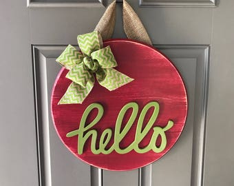 Summer Door Hanger, Front Door Sign, Hello Door Hanger, Summer Wreath, Wood Round Door Decor, Green Door Decor, Red Door Decor, Watermelon