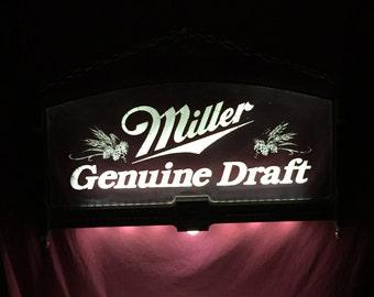 Unique Miller Genuine Draft Beer Light Up Sign, Pub Tavern Beer Advertising Sign, Miller High Life, Miller Beer Advertising, Man Cave