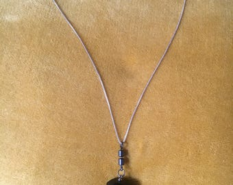 Jet and Hematite Pendulum Pendant on Sterling Silver Necklace