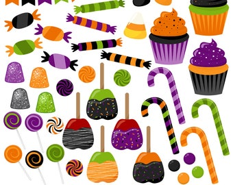 AUTUMN SALE! Halloween Candy Clipart, Halloween Clipart, Candy Clip Art, Halloween Treats, Printable, Commercial Use