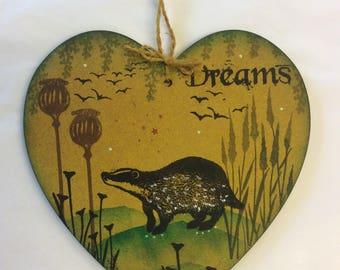 Woodland badger MDF heart.