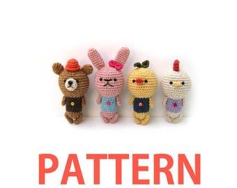 Amigurumi Crochet Pattern-Chick,Rabbit,Bear,Chicken