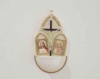"""Glow in the Dark Holy Water Crucifix - Mary and Jesus Catholic Home Blessing Wall Hanging Icon - """"God Bless Our Home"""""""