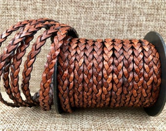 5 Yards 5mm Flat Braided Leather Cord - Antique Brown - Genuine Indian Leather - LCF5-3019A