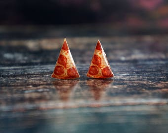 pizza earrings , funny earrings , food jewelry , pizza lover
