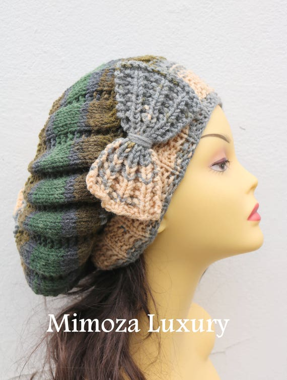 Gray/Brown/Green Woman Hand Knitted Hat with Bow, Grey Beret hat with bow, gray knit hat, slouchy knit women's hat with bow, winter hat