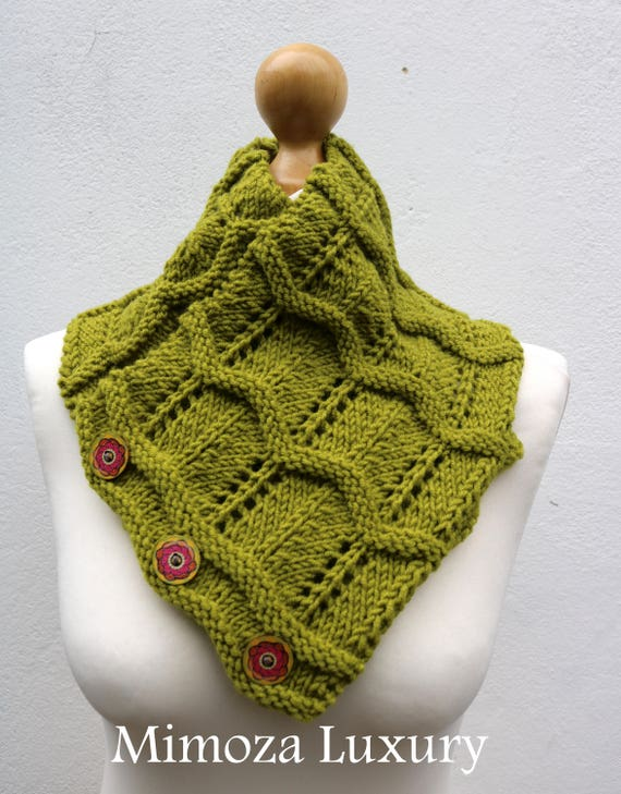 Pistachio Merino Wool Hand Knitted Scarf, Knit scarf wrap green Scarf, Shawl, Wrap, Neck warmer, knit scarf, lime green women's knit scarf