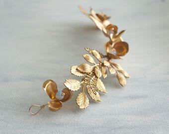 Gold bridal hair vine, Wedding Hair, Headpiece, Hair Accessories, Bride, Weddings, Bridal leaves head piece, Garden Jewelry, Hair Jewelry