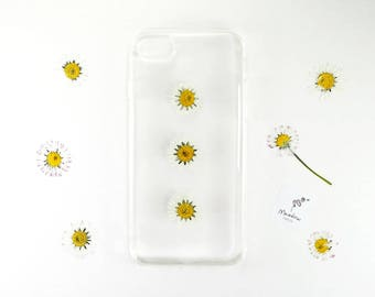 iPhone 5 / 5s / SE case with real pressed flowers, daisy case