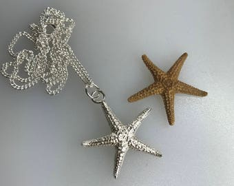 Silver Starfish Pendant, Mother's Day Gift!  Sterling Silver Curb Chain