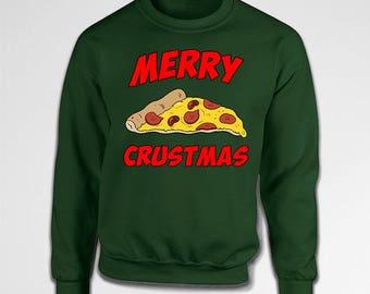 Funny Pizza Merry Crustmas Ugly Christmas Sweater Xmas Foodie Sweatshirt Holiday Outfit Hoodie Present Gift Idea Jumper X-mas Party Tiki-21