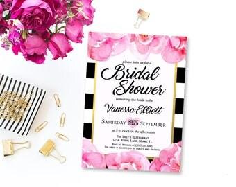 Black & White Stripe Bridal Shower Invitation, Floral Bridal Shower Invitation, Watercolor flowers, Black and Pink Printable Invite