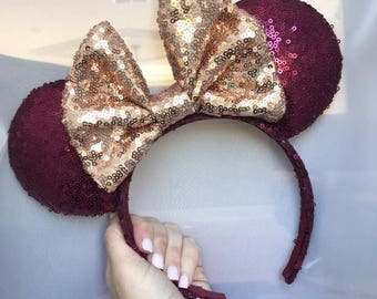 Seminole Garnet Sequin Minnie Mouse Ears with Gold Bow (FSU)