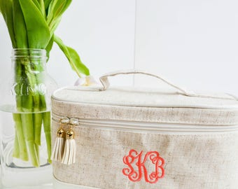 Monogram Train Case | Monogrammed Cosmetic Bag | Monogram Toiletry Bag | Travel Case | Bridesmaid Gift | Gifts for Her | Bridal Party Gift