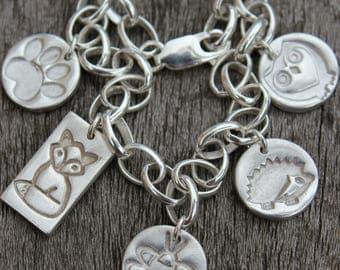 Woodland charm bracelet, wildlife charm bracelet, nature lover charm bracelet, wildlife lover gift, jewellery for charity, charity donation