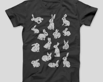 Men Bunny T-shirt // Rabbit // Bunnies // Men's Tshirt // Animal Shirt // Graphic Shirt // Bunny Shirt // Gift for Him