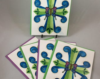 """5 Blank cards 5"""" X 7"""" with envelopes- print of original art - """"All Things New"""" - Christian greeting card"""