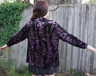 floral velvet collared button up