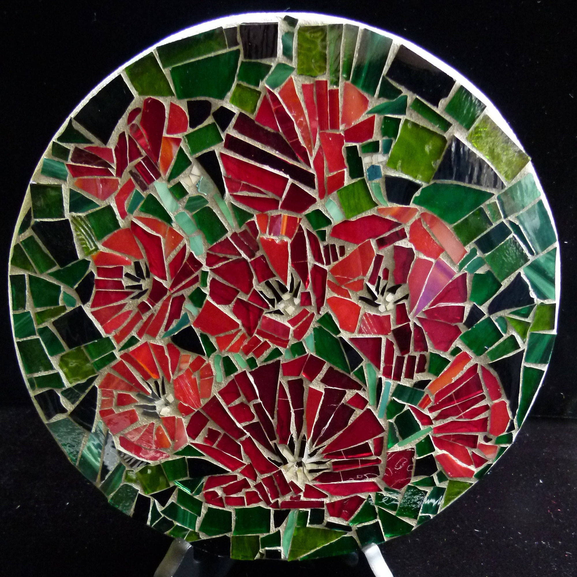 Red Mosaic Wall Decor : Stained glass mosaic wall art red poppies