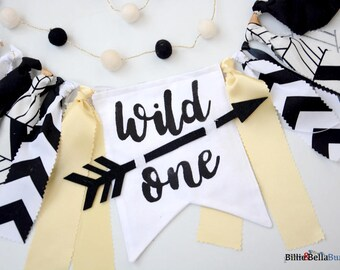 Wild One High chair Banner First Birthday Highchair Wild Things ONE Arrows Feathers Decorations Cake Smash Photo Prop Backdrop Rag Tie