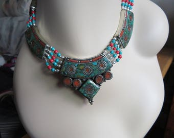 Cute Gifted Genuine Turquoise and Red Coral 925 Sterling Silver Tibetan Necklace, 18 In. w/Adjust Links, Wt. 84 Grams