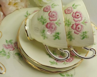 2 Hammersley Teacups, Saucers, Plates , Vintage Old Roses, Palest Yellow Excellent