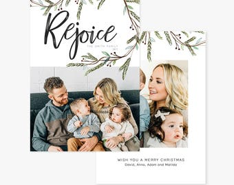 Christmas Card Template for photographers PSD Flat card - Christmas Card - Photoshop Template - CD072