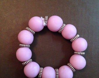 Bracelet polymer clay pink beads