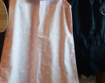 dress, blouse, cotton tunic pink polka dot collar pierrot - size 4/5 years